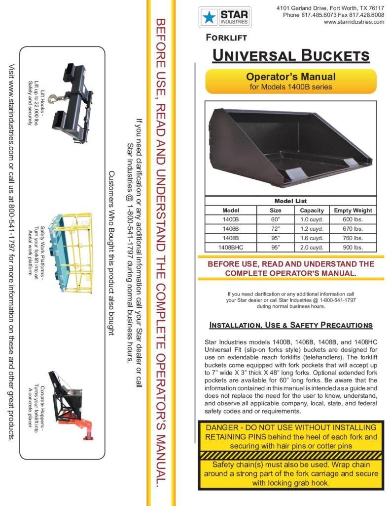 Forklift Bucket 1400B - Manual