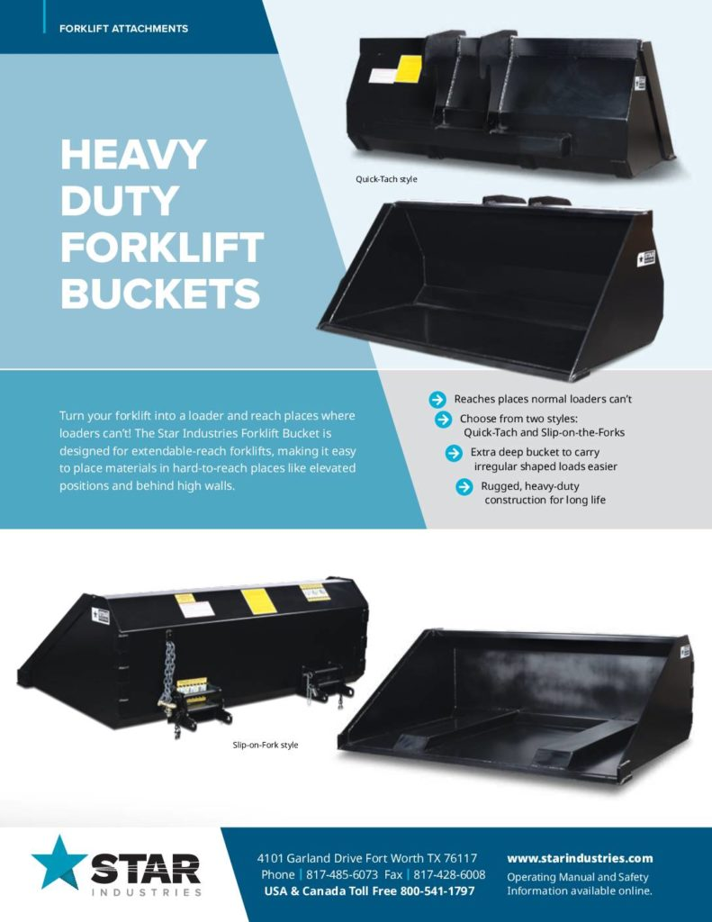 Forklift Buckets Product Sheet