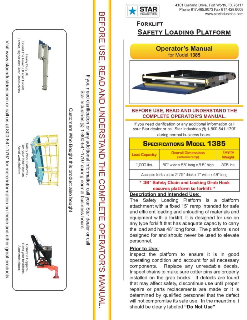 Safety Loading Platform - Manual