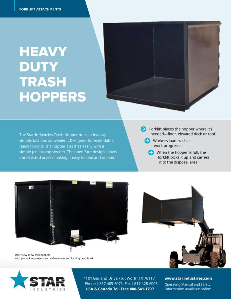 Heavy Duty Trash Hopper Product Sheet