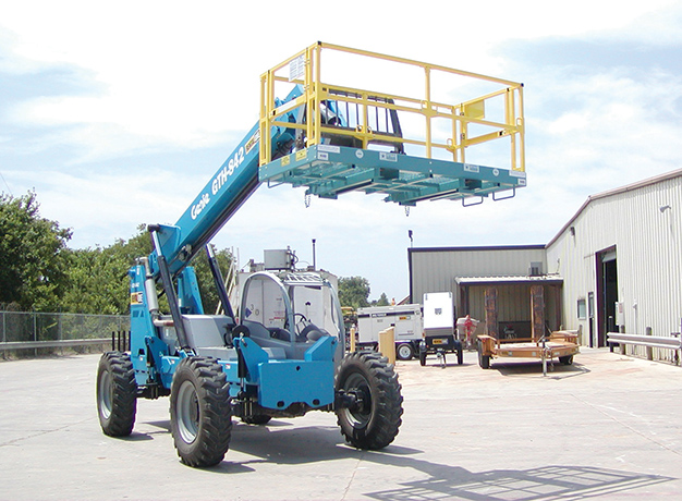 Platform connects to forklift for extended reach