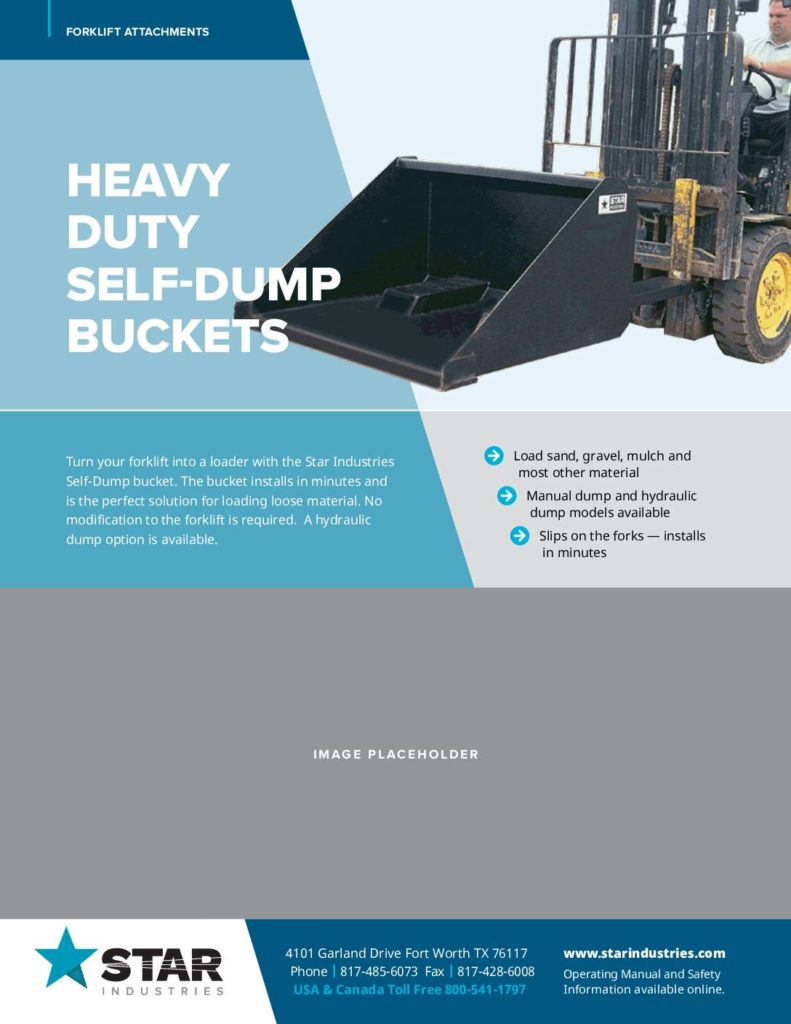 Star Industries Forklift Attachments Self-Dump Buckets