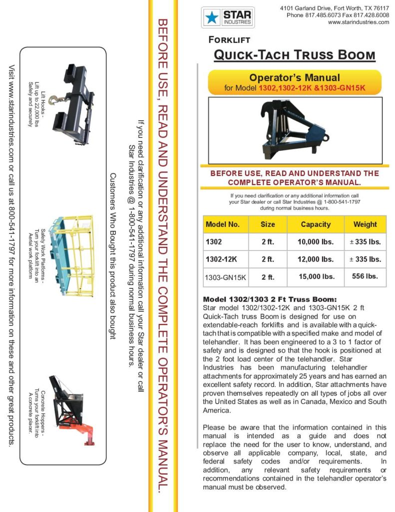 2' Truss Boom - Operators Manual