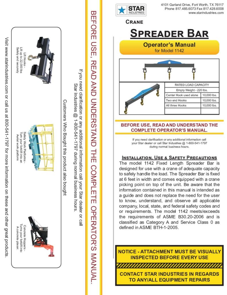 Crane Spreader Bar 1142 - Manual