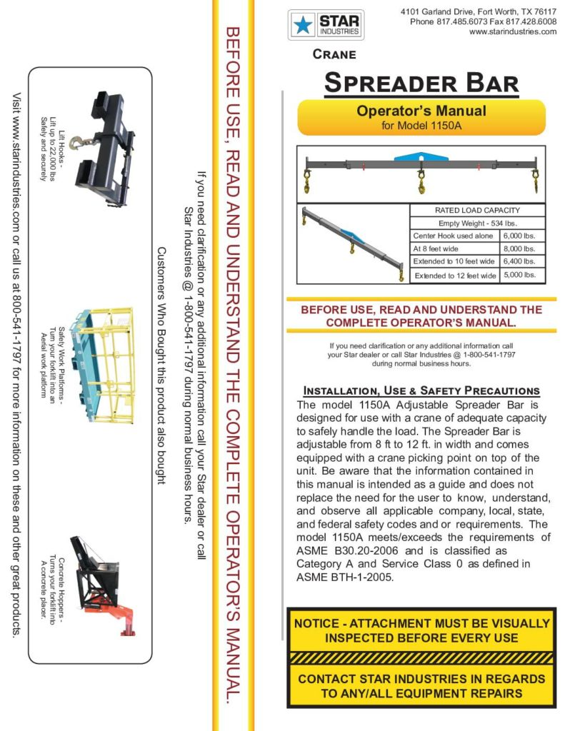 Crane Spreader Bar 1150A - Manual
