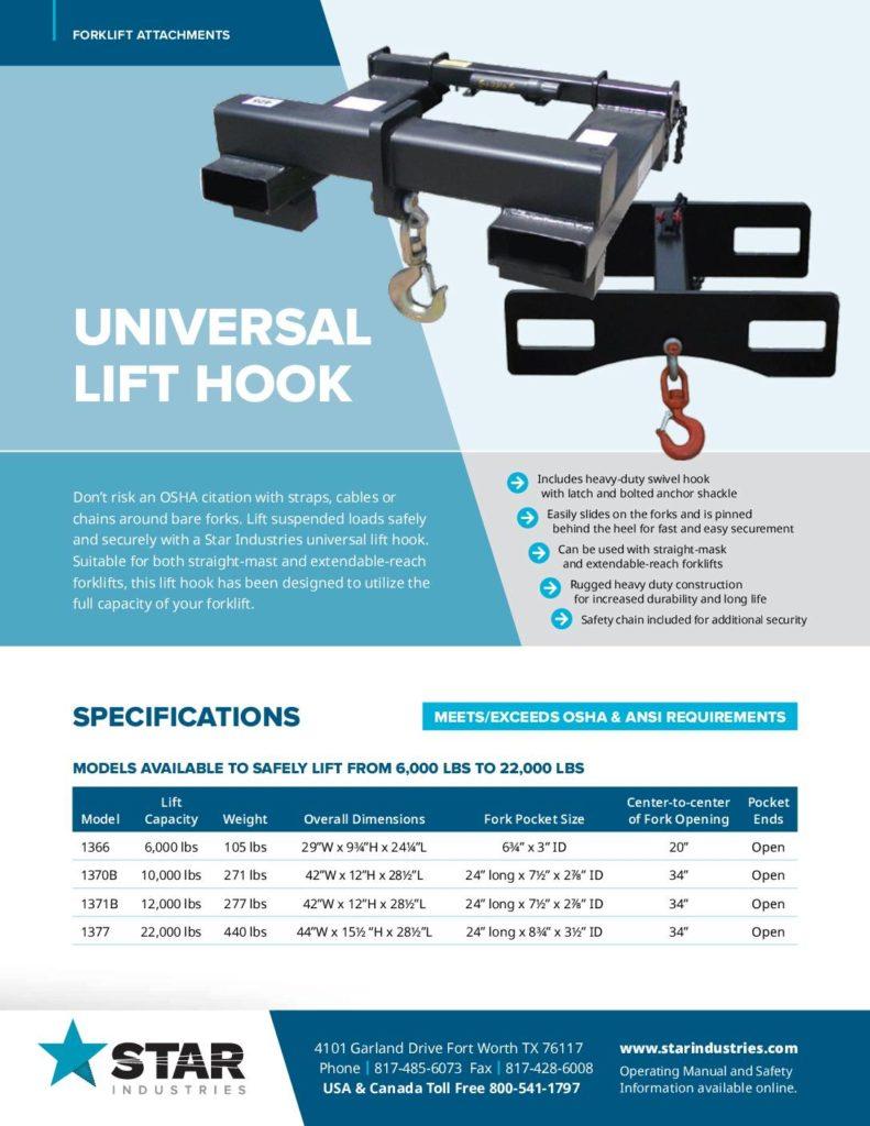 Universal Lift Hook Product Sheet