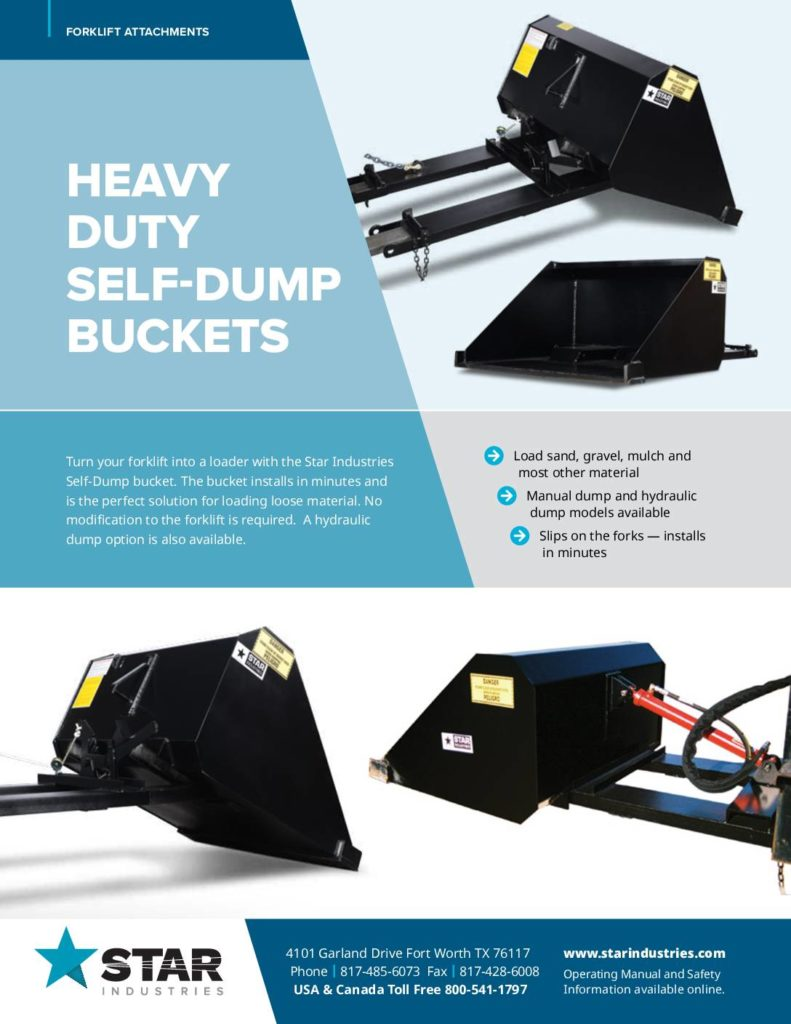 Self-Dump Bucket Product Sheet