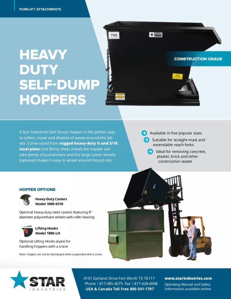 Heavy Duty Self-Dump Hopper Product Sheet