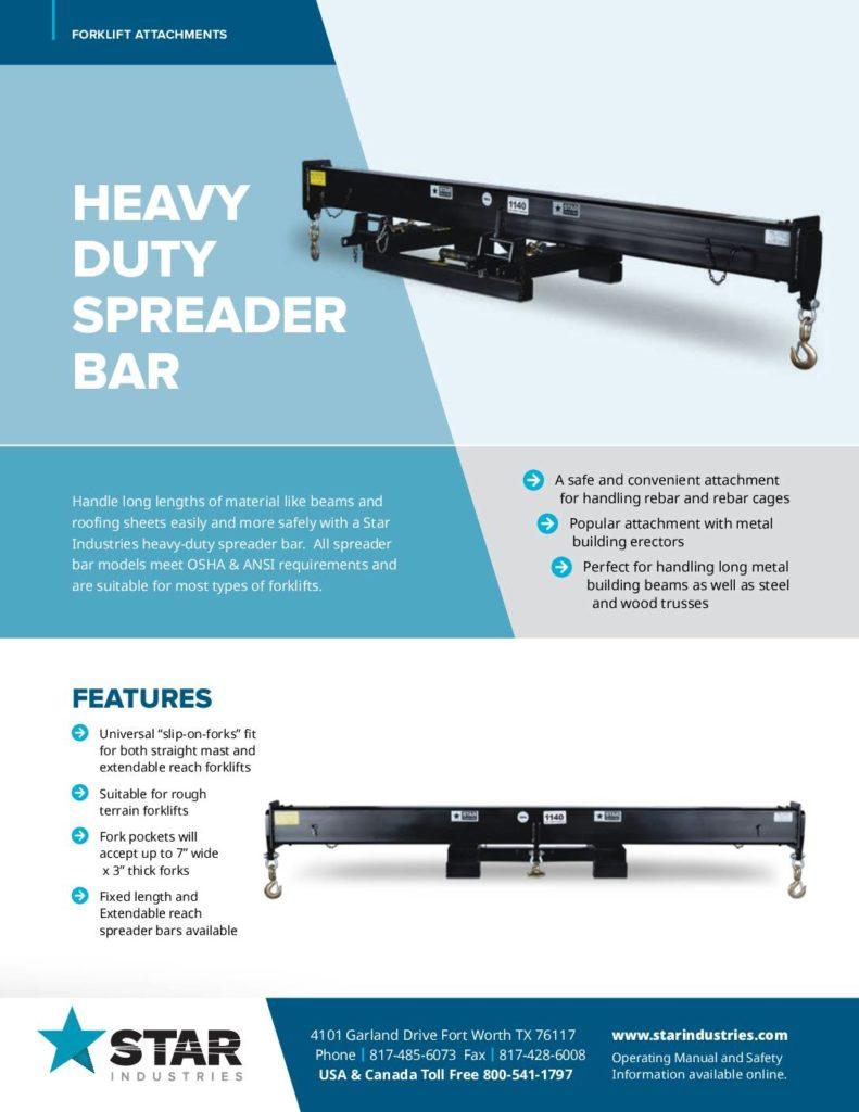 Heavy Duty Spreader Bar Product Sheet