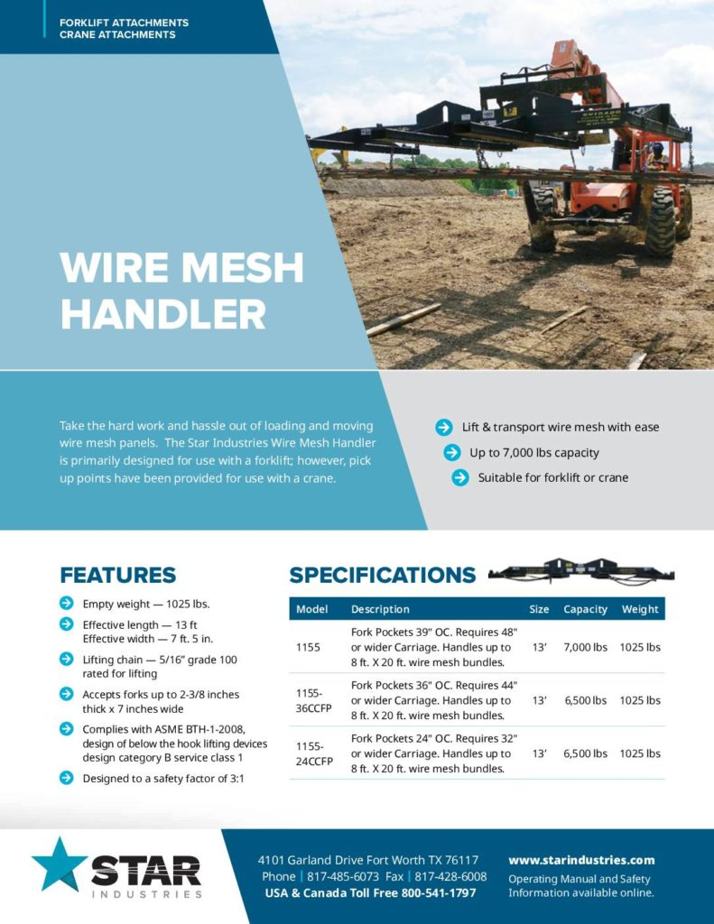Wire Mesh Handler Product Sheet