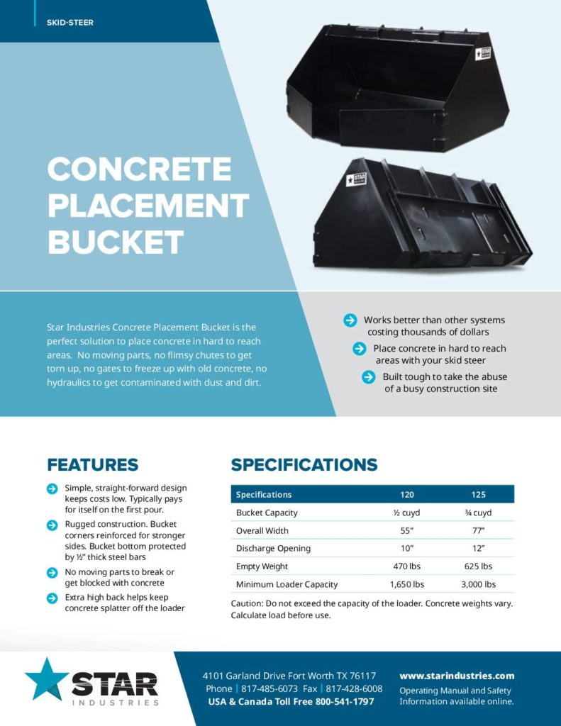 Concrete Placement Bucket - Product Sheet