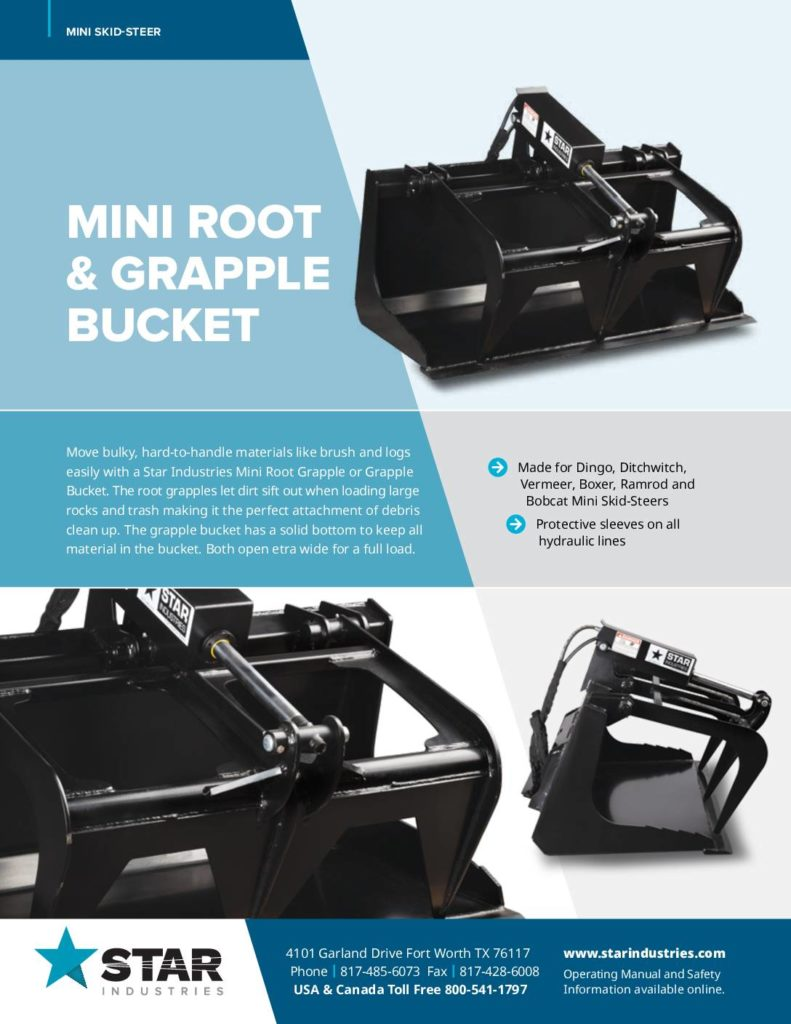 Mini Root Grapple Buckets - Product Sheet