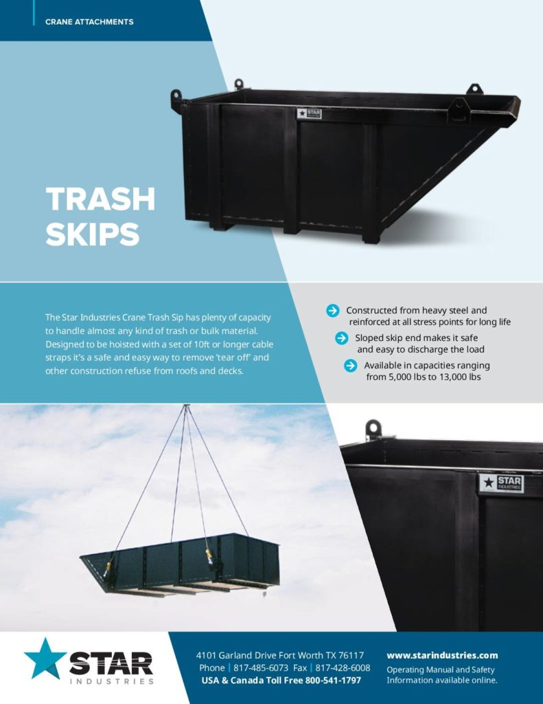 Crane Trash Skip - Product Sheet