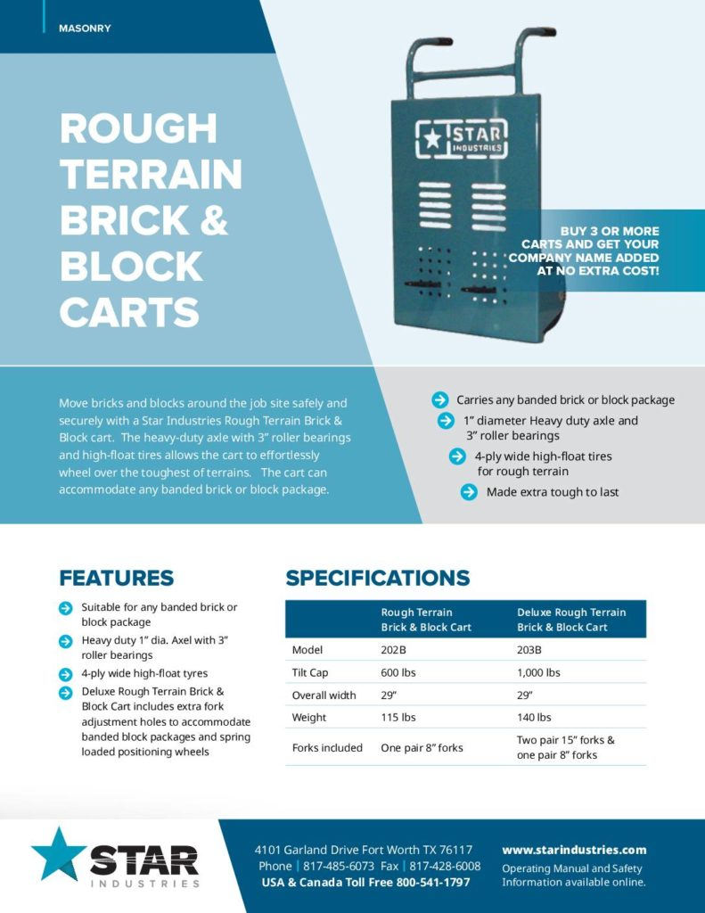 Brick and Block Carts - Product Sheet