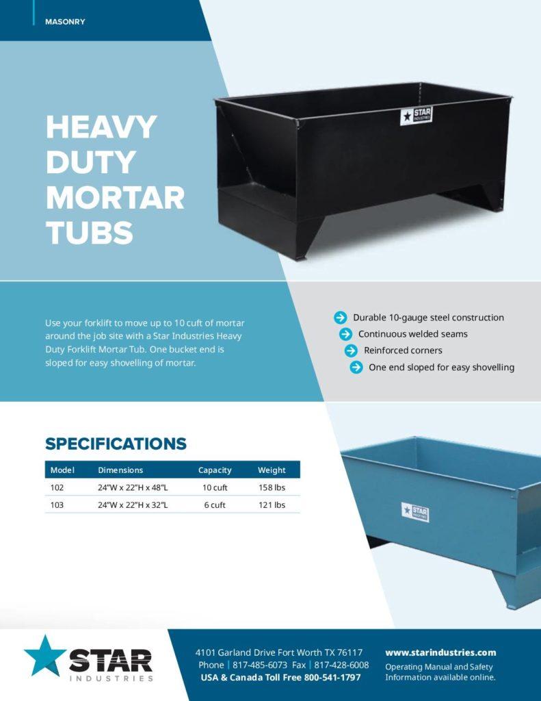 Mortar Tubs - Product Sheet