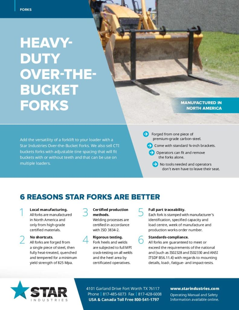 Over-the-Bucket Forks - Product Sheet