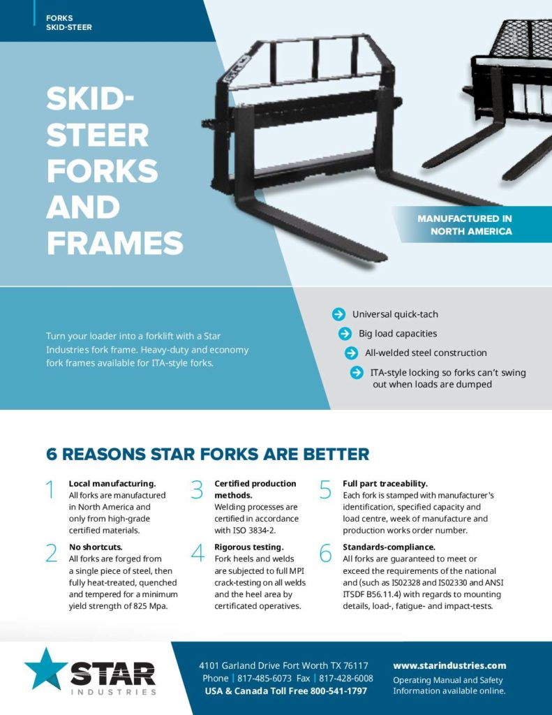Skid Steer Forks and Frames - Product Sheet