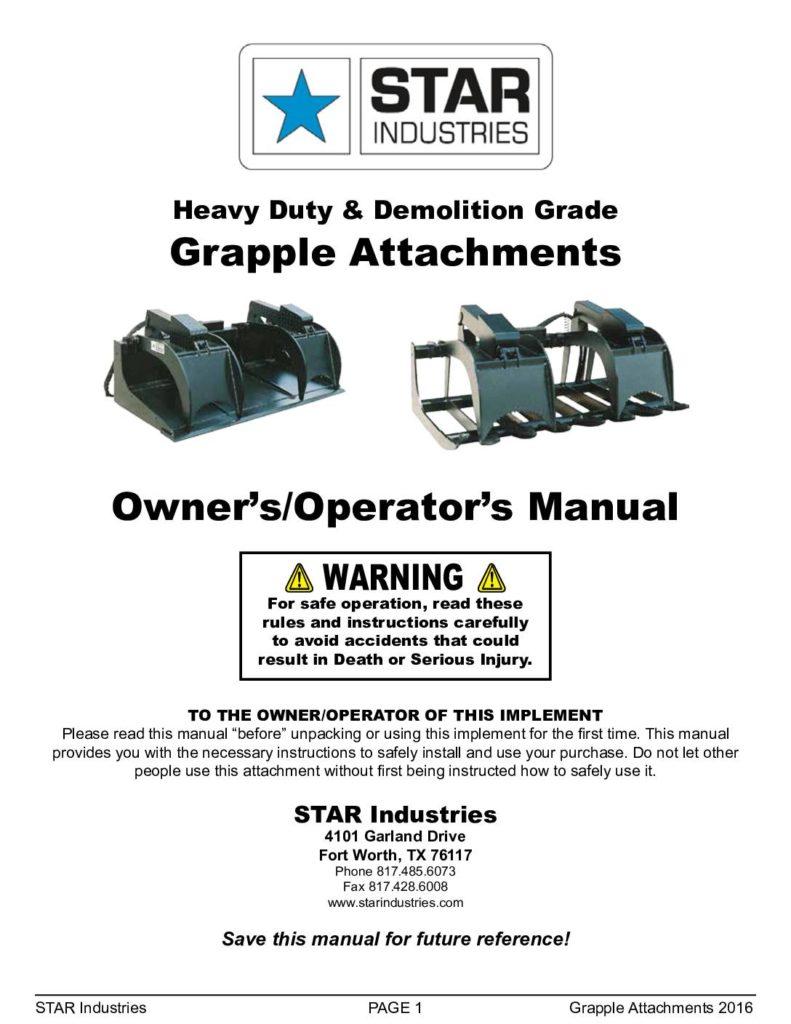 Skid-Steer Grapples - Manual