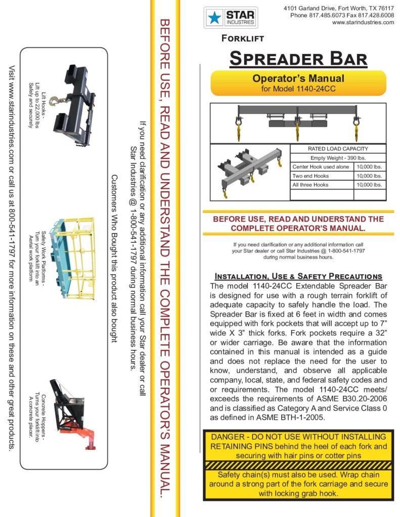Spreader Bar 1140-24CC - Manual