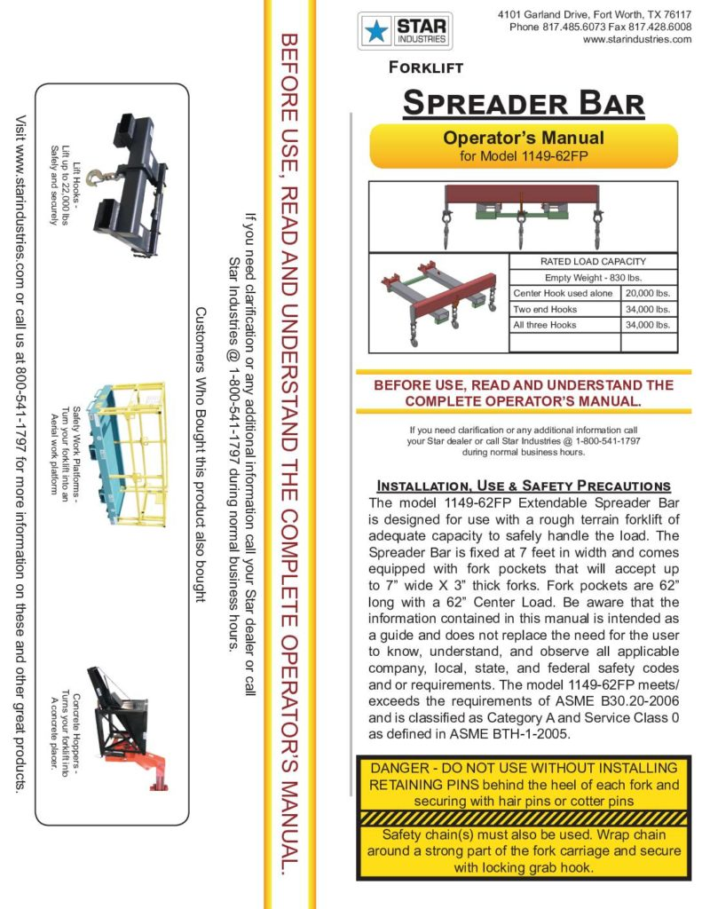 Spreader Bar 1149-62FP - Manual