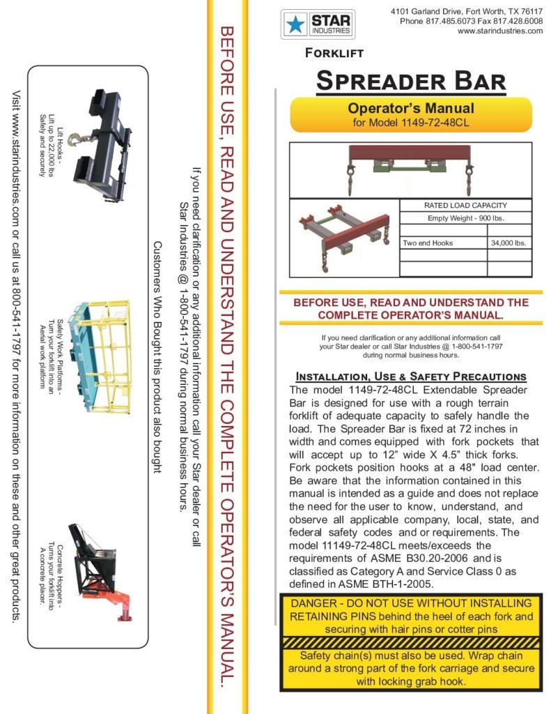 Spreader Bar 1149-72-48CL - Manual