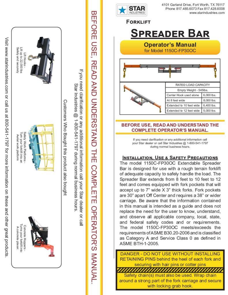 Spreader Bar 1150C-FP30OC - Manual
