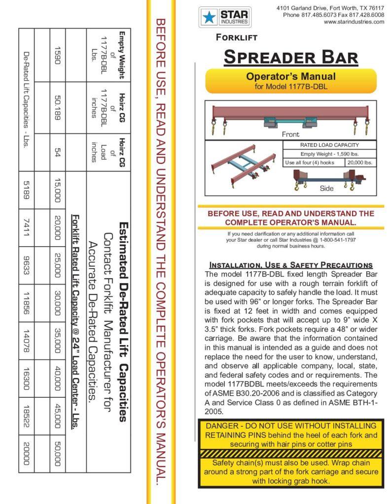 Spreader Bar 1177B-DBL - Manual