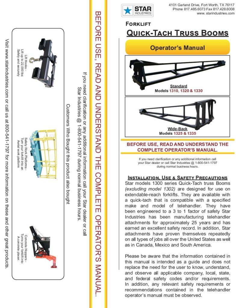 "10""-15' Truss Boom - Operators Manual"