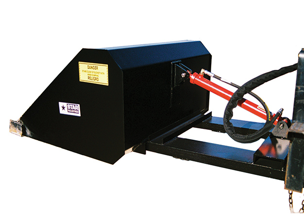 The Hydraulic self-dump bucket provides precise control of the discharge
