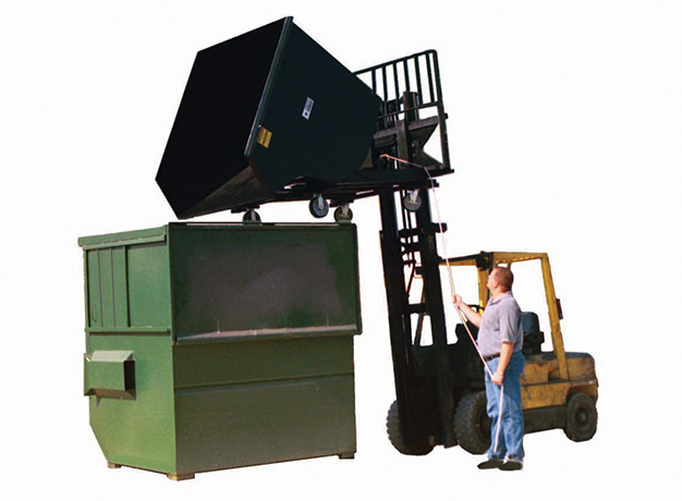 Self-dump hopper in-action using forklift