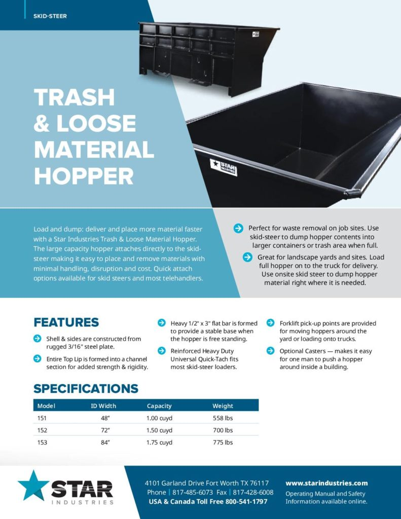 Trash & Loose Material Hoppers - Product Sheet