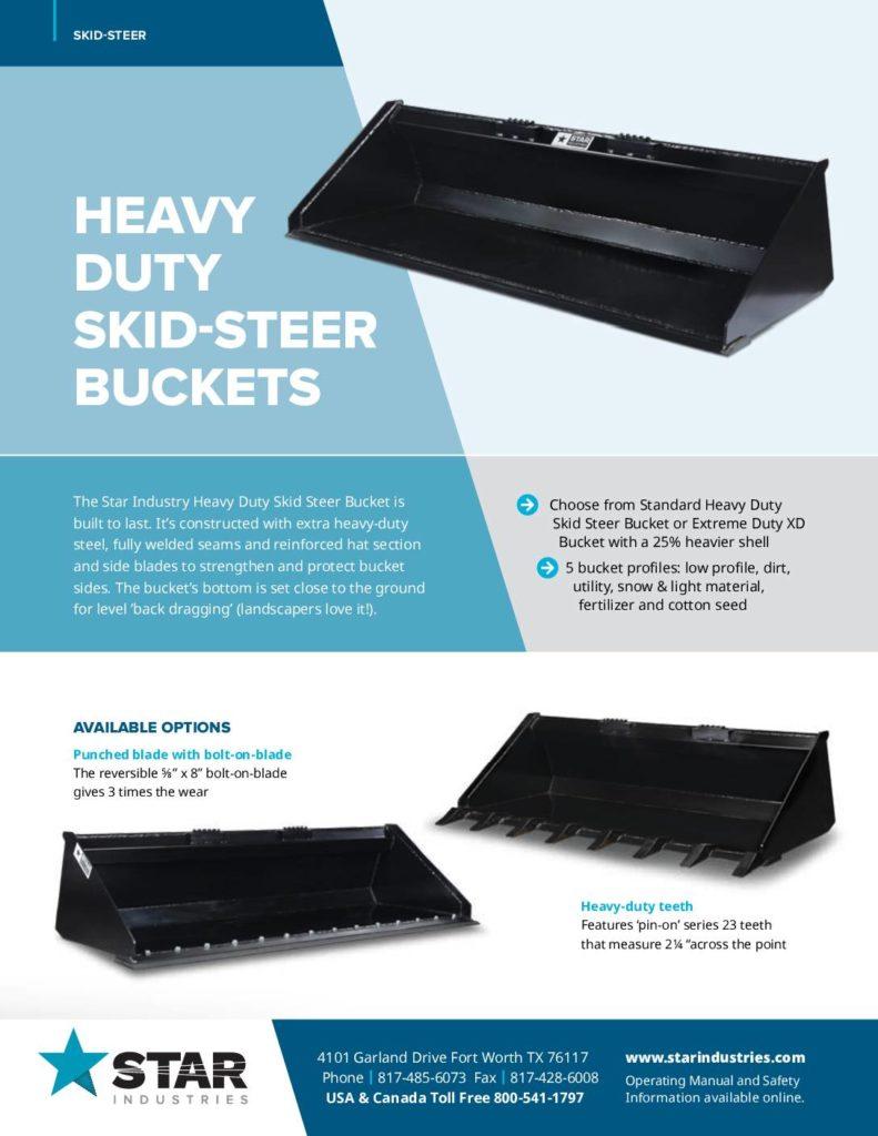 Heavy Duty Skid Steer Buckets - Product Sheet